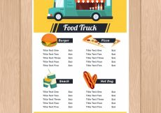 Free vector Traditional food truck menu with fun style #20989