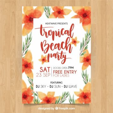 Free vector Tropical beach party poster with pretty watercolor flowers #21234