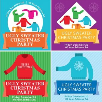 Free vector Ugly Christmas Sweater Flyers #22676