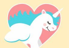Free vector Unicorn background in a heart #21067