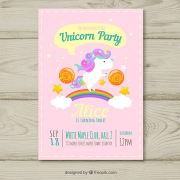 Free vector Unicorn party birthday card #20142
