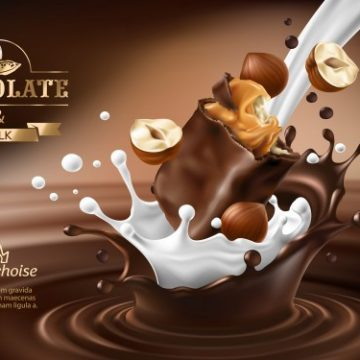 Free vector Vector 3D splashes of melted chocolate and milk with falling piece of chocolate bar. #23093
