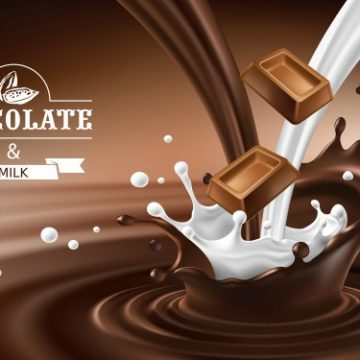 Free vector Vector 3D splashes of melted chocolate and milk with falling pieces of chocolate bars. #23095