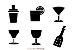 Free vector Black Cocktail Icons #20408
