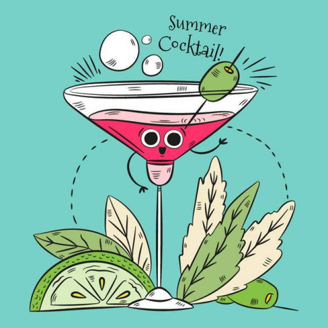 Free vector Cute Cocktail Character illustration With Leaves Lime And Quote #22940