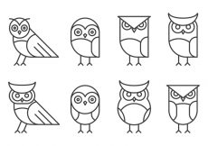 Free vector Hipster Linear Owl Logo #21307
