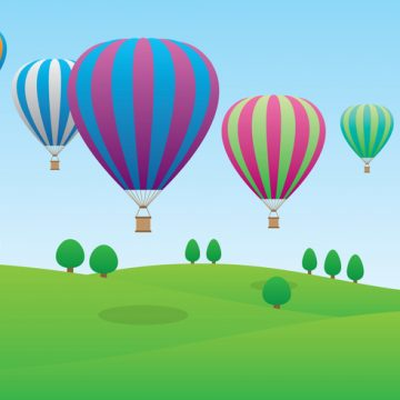 Free vector Hot Air Balloons Flying Over the Field #21046