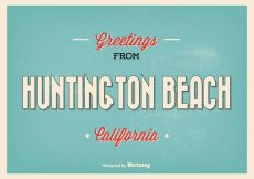 Free vector Huntington Beach Retro Greeting Illustration #20980