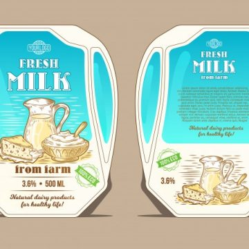 Free vector Vector illustration in the engraving style, design packaging for milk, lean pack in the form of a jug #23053