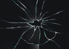 Free vector Vector illustration of a broken, cracked, cracked glass with a hole #23133