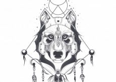 Free vector Vector illustration of a front view of a wolf head, geometric sketch of a tattoo #23113