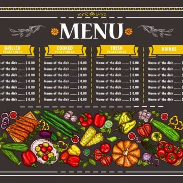 Free vector Vector illustration of a vegetarian restaurant menu design #23037