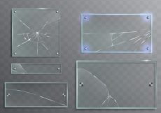 Free vector Vector illustration set of transparent glass plates with cracks, cracked panels #23115