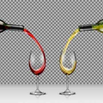Free vector Vector illustrations of hands holding glass bottles with white and red wine and pour it into transparent glasses #22987