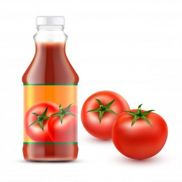 Free vector Vector illustrations of transparent bottle with tomato ketchup and two fresh red tomatoes #23139