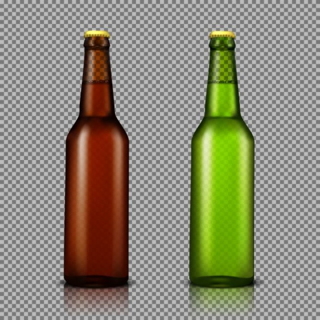 Free vector Vector realistic illustration set of transparent glass bottles with drinks, ready for branding #22991