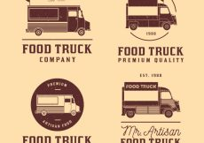 Free vector Vintage collection of food truck logos #21294