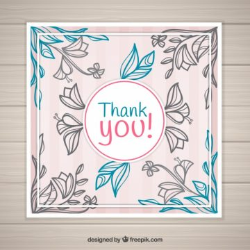 Free vector Vintage floral thank you card #22845