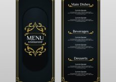 Free vector Vintage menu template with golden ornaments #19491
