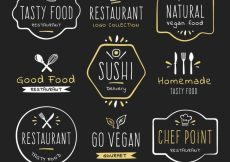 Free vector Vintage restaurant logos with hand drawn style #19001