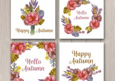 Free vector Watercolor autumn cards with floral style #22911