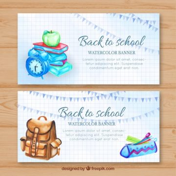 Free vector Watercolor banners with school materials and backpack #22012