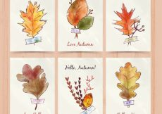 Free vector Watercolor pack of cards with autumnal leaves #22707