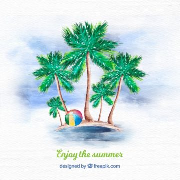 Free vector Watercolor palm tree background #21588