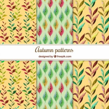 Free vector Watercolor patterns with autumnal leaves #22533