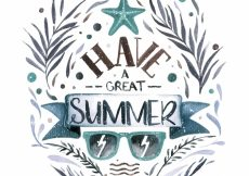Free vector Watercolor summer lettering with sunglasses #21210