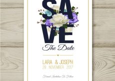 Free vector Watercolor wedding card with colorful roses #22395