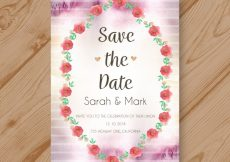 Free vector Watercolor wedding invitation with floral frame #21332