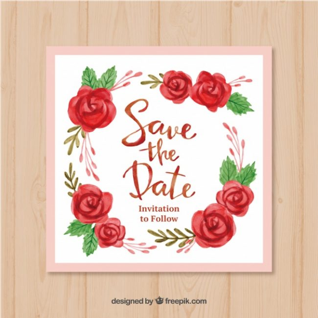 Free vector Watercolor wedding invitation with lovely roses #21906