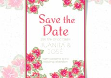 Free vector Watercolor wedding invitation with tropical flowers #21918