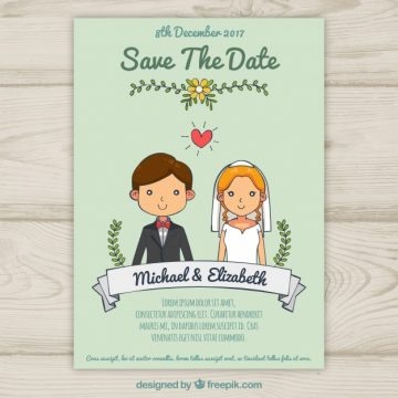 Free vector Wedding invitation with cute hand drawn couple  #21796