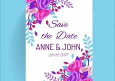 Free vector Wedding invitation with cute roses #22607