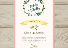 Free vector Wedding invitation with floral ornaments and ribbon #21384