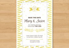 Free vector Wedding invitation with floral style #21390