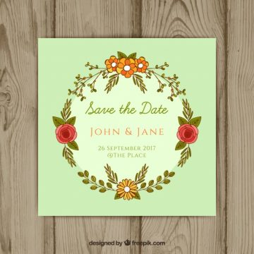 Free vector Wedding invitation with hand drawn floral frame #21420