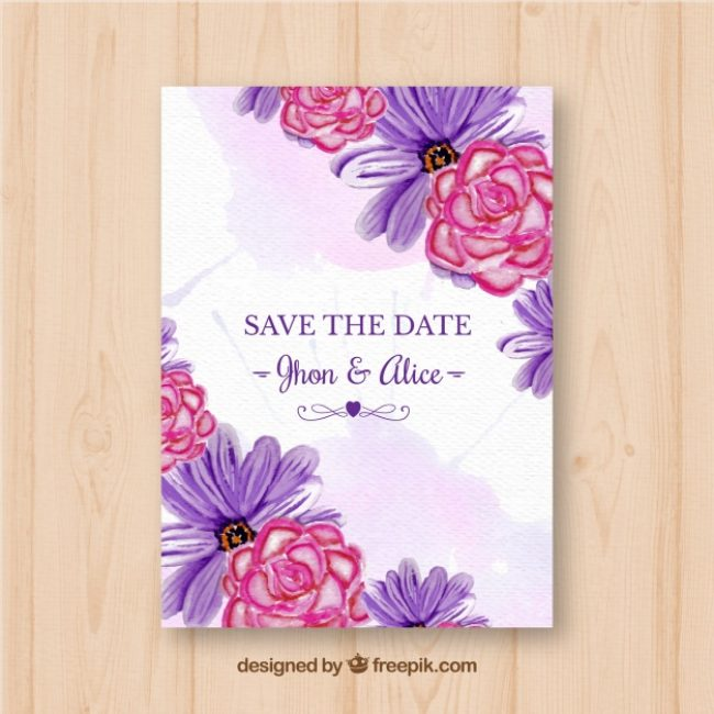 Free vector Wedding invitation with watercolor flowers #22833
