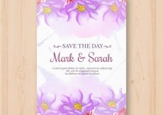 Free vector Wedding invitation with watercolor flowers #22835