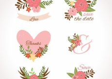 Free vector Wedding labels with flowers and hearts #22505