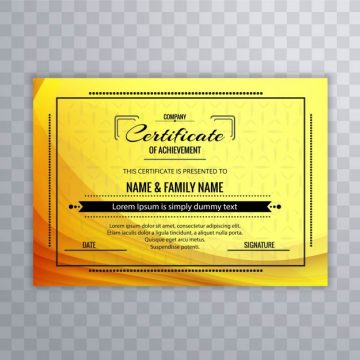Free vector Yellow certificate of achievement template #19340