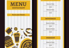 Free vector Yellow restaurant menu with stripes #19397
