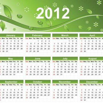 Free vector 2012 Eco Green Free Vector Calendar #23625