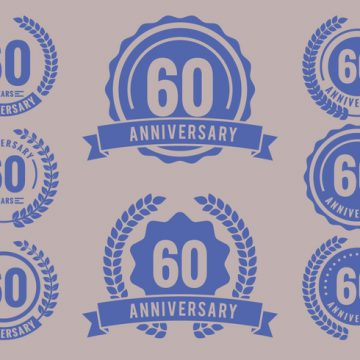 Free vector Anniversary Badges 60th Year Celebration #23705