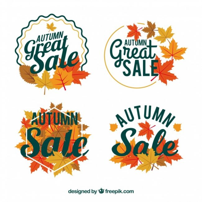 Free vector Autumn sale badges with flat design #23726