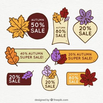 Free vector Autumn sale labels with hand drawn style #23612