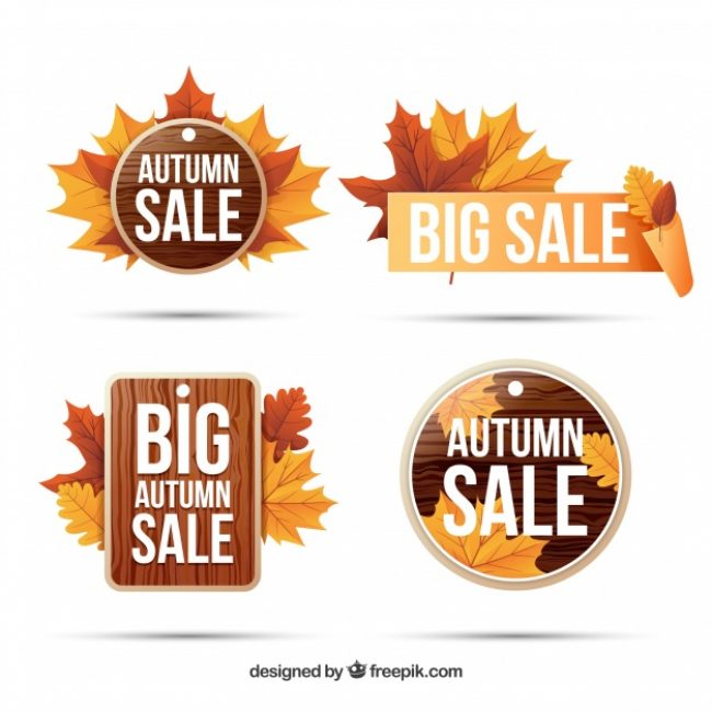 Free vector Autumn sale labels with modern style #23672