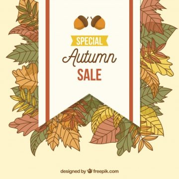 Free vector Autumn sale with hand drawn leaves #23740
